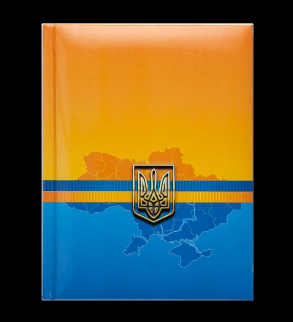 Блокнот UKRAINE, А5, 80л., обложка с поролоном, в клетку, синий