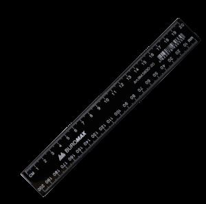 Линейка 20 см, пластиковая, черная JOBMAX
