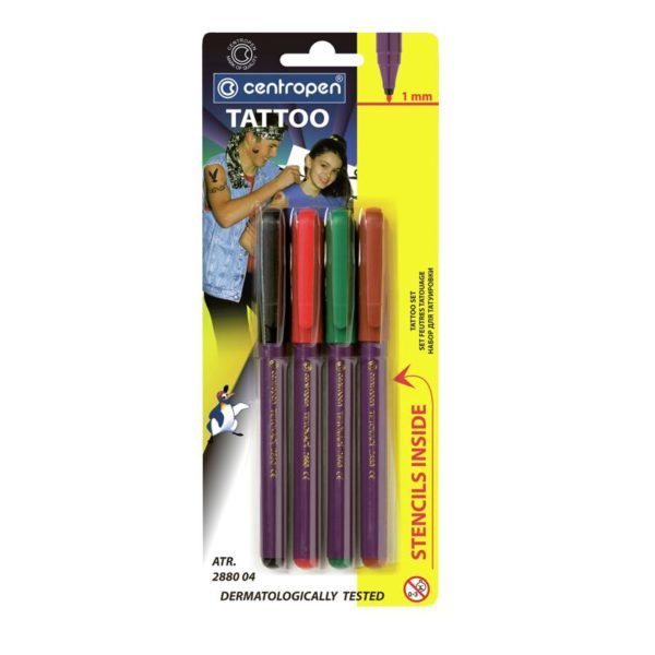 Набор маркеров для кожи TATTOO 4шт + трафареты, 1мм арт.2880