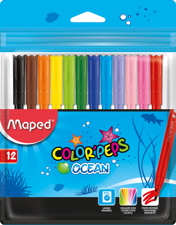 Фломастеры COLOR PEPS OCEAN, 12 цветов