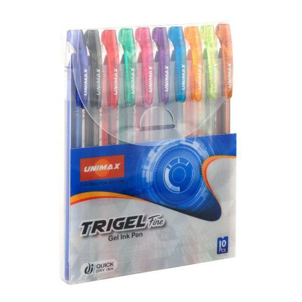 Набор ручек гелевых 10шт. 10 цветов Trigel-3 UX-132, 0,5 мм, 1200м