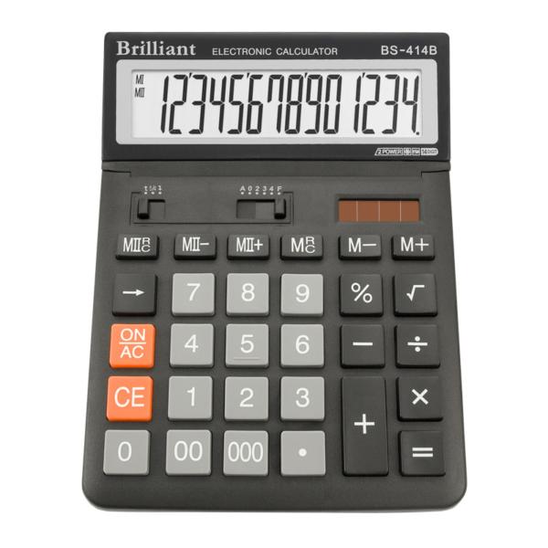 Калькулятор BRILLIANT BS-414, 14 разрядов, две батареи