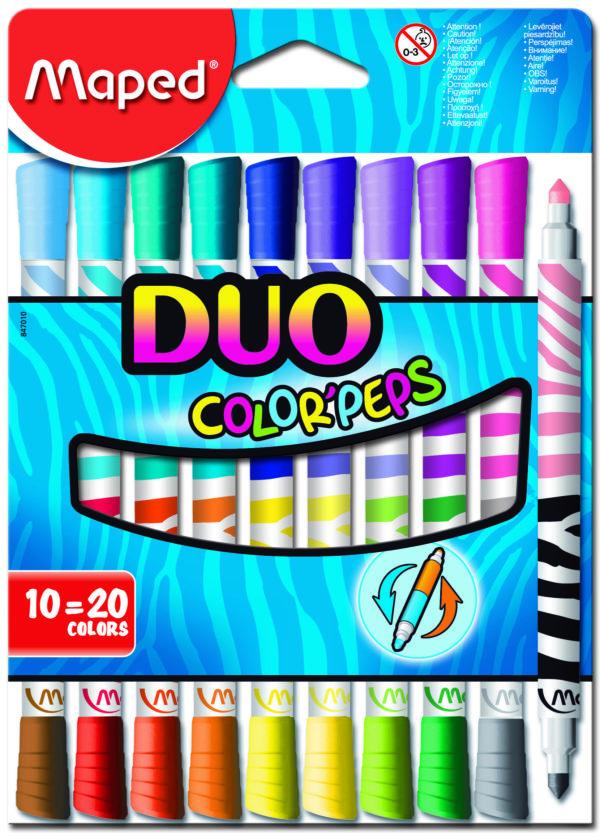 Фломастеры двухсторонние COLOR PEPS DUO, 10 фломастеров, 20 цветов