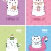 Блокнот, детский CHARMING CAT, формат А6, 40л, на пружине, картонная обложка, в клетку