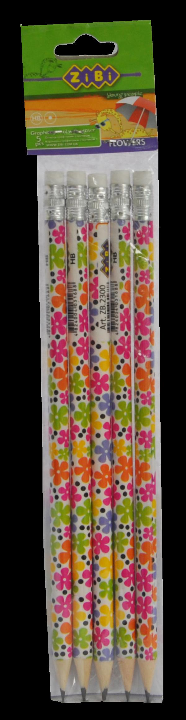 Карандаш графитовый НВ FLOWERS с резинкой, 5 шт в блистере