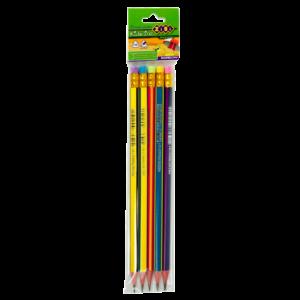 Карандаш графитовый НВ RAINBOW с резинкой, трехгранный 5 шт в блистере