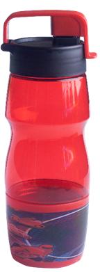 Бутылка для воды 600мл, из пищевого пластика, красная