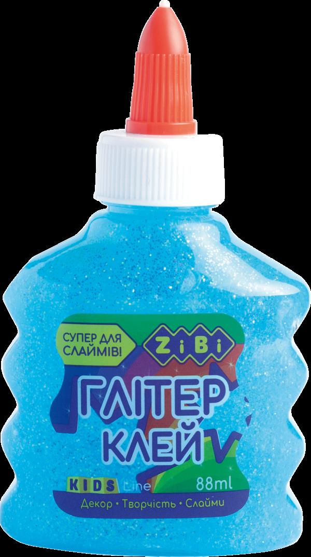 Клей НЕОН ГЛИТТЕР для слаймов, голубой прозрачный, 88 мл