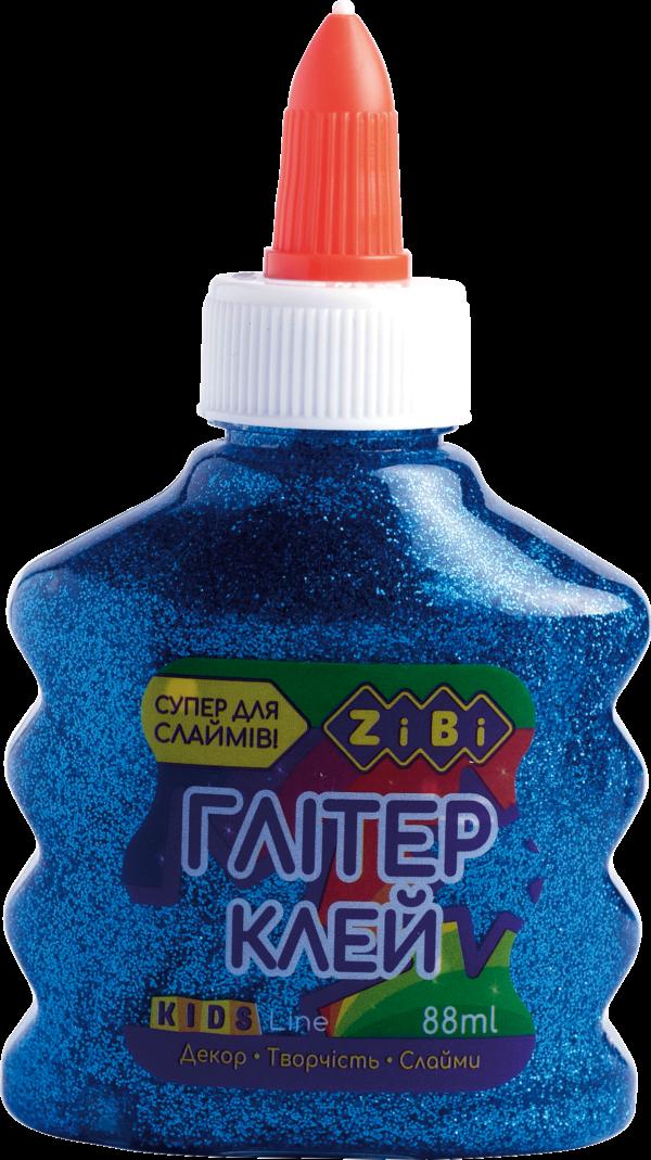Клей ГЛИТТЕР для слаймов, синий прозрачный с блестками, 88 мл