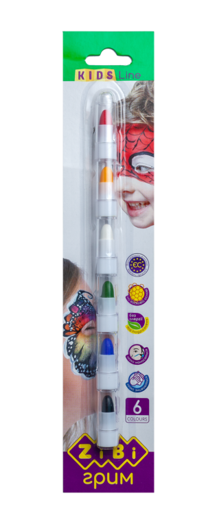 Карандаши для грима лица и тела ПОЗИТИВ на восковой основе, 6 цвета