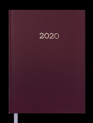 Ежедневник датированный 2020 MONOCHROME, А5, бордовый, твердая обложка