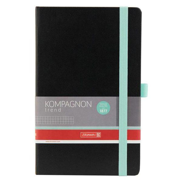 Записная книжка KOMPAGNON Trend А5, 96л. твердая обложка, черная, с бирюзовым срезом, клетка