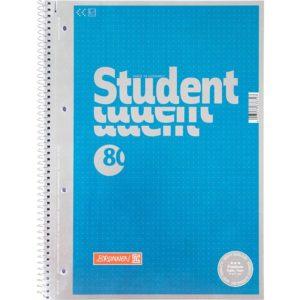 Колледж-блок А4 Premium, точка, 80 арк., синий, микроперфорация, 4 отверстия