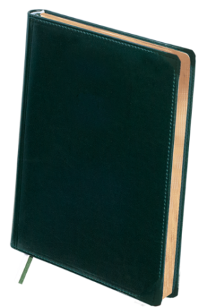 Ежедневник недатированный А4 BOSS зеленый, кремовый блок, КОЖА