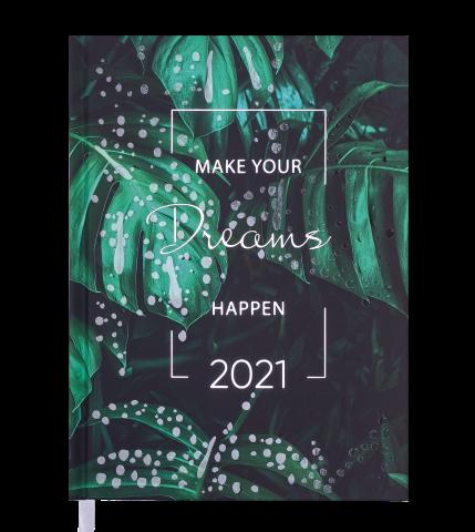 Ежедневник датированный 2021 MAGIC, А5, зеленый
