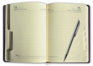 Блок А5 датированный ежедневник, кремовый, с высеченными регистрами