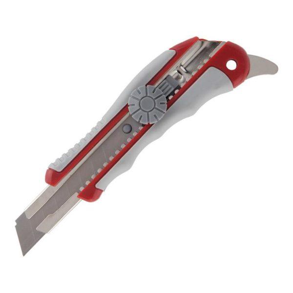 Нож канцелярский пластиковый, лезвие 18мм, с механизмом фиксации Twist-Lock, эргономичные вставки