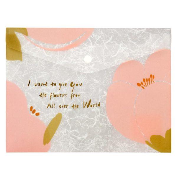 Папка-конверт на кнопке, А5+, Fleur, розовая, пластиковая, 180мкм