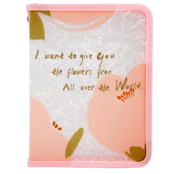 Папка объемная на молнии, А5+, Fleur, розовая, пластиковая, 450мкм