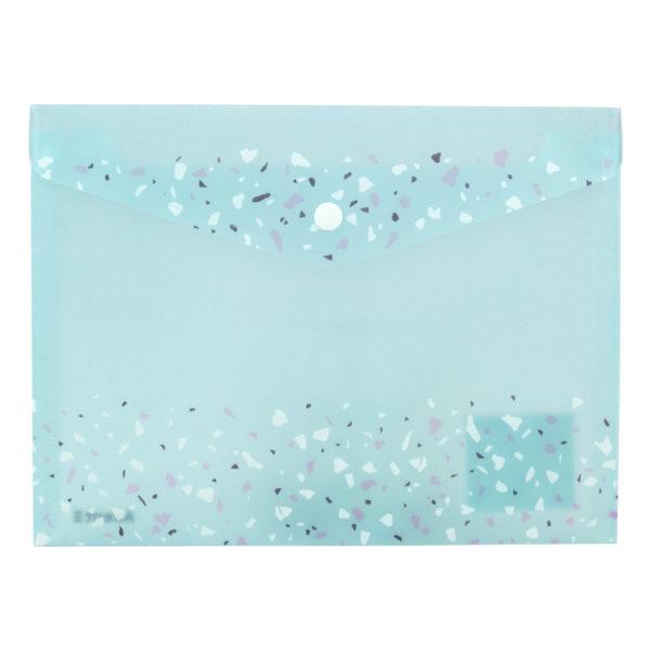 Папка-конверт на кнопке, А5+, Shine, аквамарин, пластиковая, 180мкм, с блестками