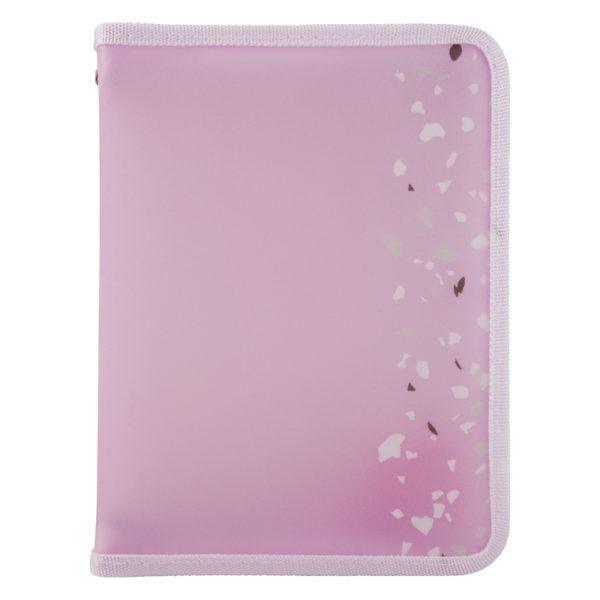 Папка объемная на молнии, А5+, Shine, розовая, пластиковая, 180мкм
