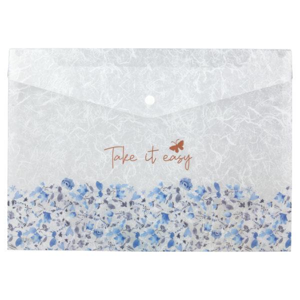 Папка-конверт на кнопке, А4+, Frozen Nature-02, пластиковая, 180мкм
