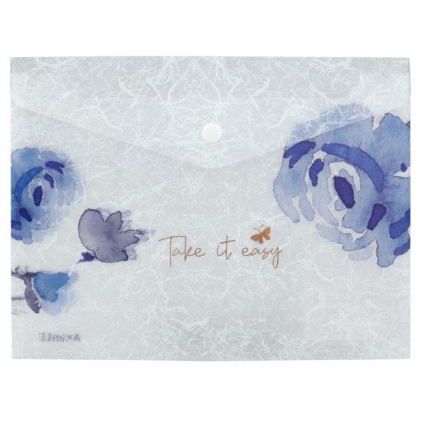 Папка-конверт на кнопке, А5+, Frozen Nature-01, пластиковая, 180мкм