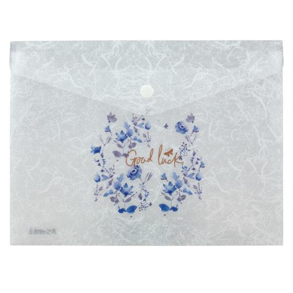 Папка-конверт на кнопке, А5+, Frozen Nature-04, пластиковая, 180мкм