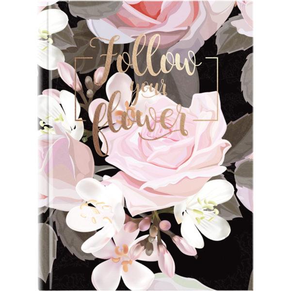 Записная книжка FLOWERS, А5, 120л, твердая обложка, клетка, белый блок