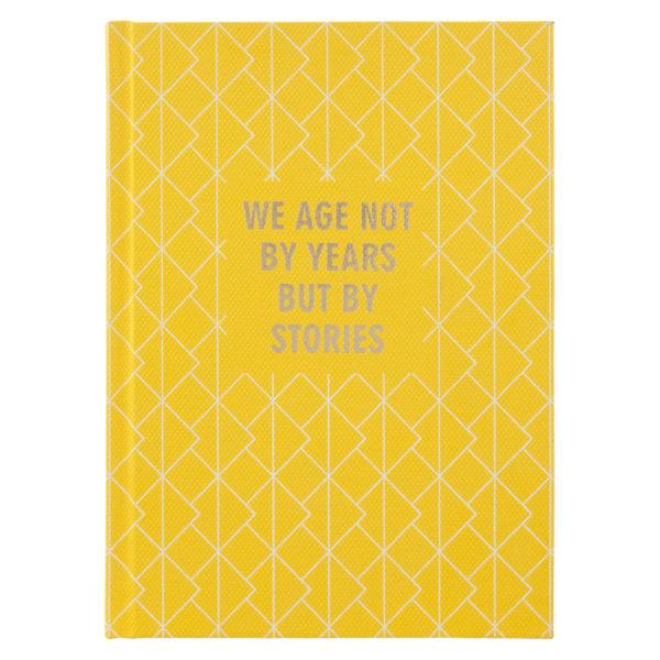 Записная книжка Stories, А5, 96л, твердая обложка, клетка, кремовый блок, желтая
