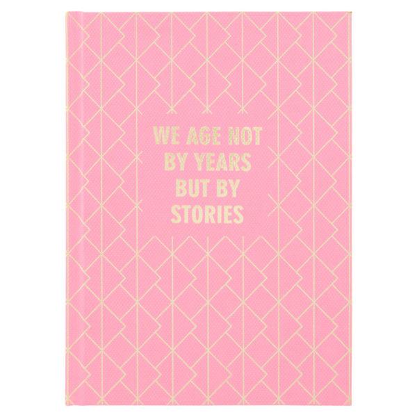 Записная книжка Stories, А5, 96л, твердая обложка, клетка, кремовый блок, розовая