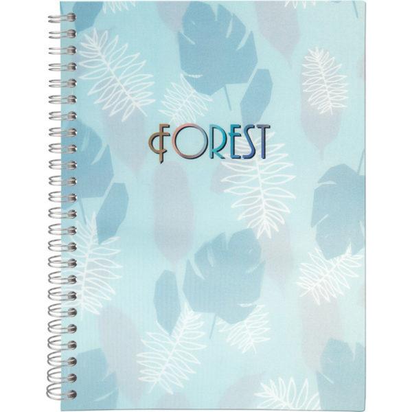 Блокнот на пружине сбоку Forest, А5, 80 листов, в клетку, твердая обложка, кремовый блок, бирюзовый