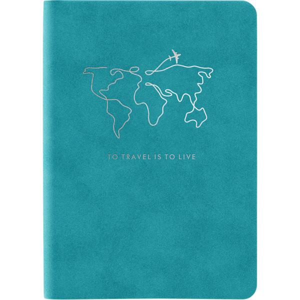 Записная книжка Nuba Soft, А6+, 96л, мягкая обложка, клетка, кремовый блок, тонированный срез, голубая
