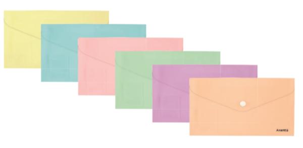 Папка-конверт на кнопке 250х130мм, DL Pastelini, 180мкм