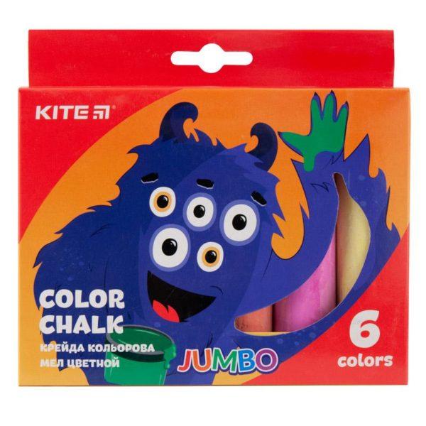 Мел цветной цилиндрический JUMBO 6 цветов, 6шт. Jollier K19-073