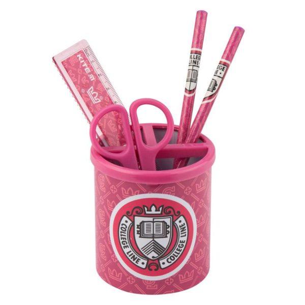 Набор настольный на 3 отделения K19-205-01, линейка, 2 карандаша, ножницы, металлический