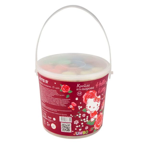 Мел цветной JUMBO, 15 шт. 5 цветов, в пластиковом ведре Hello Kitty HK19-074