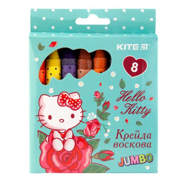 Мелки восковые JUMBO 8 цветов Hello Kitty, диаметр 12мм HK19-076