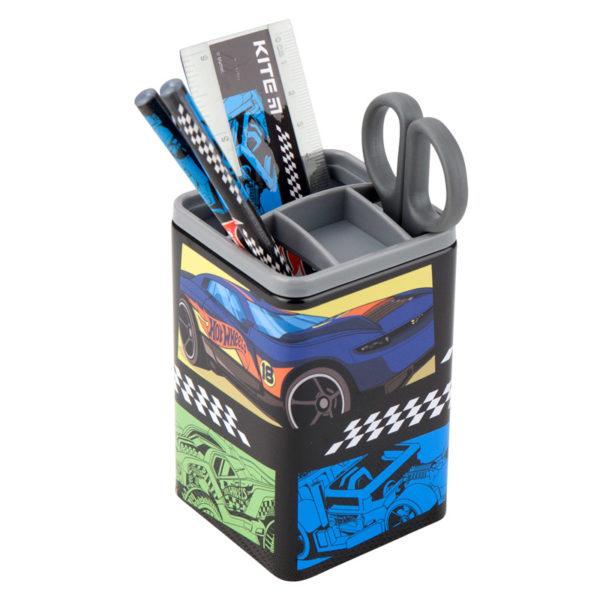 Набор настольный на 3 отделения HW19-214, линейка, 2 карандаша, ножницы, металлический