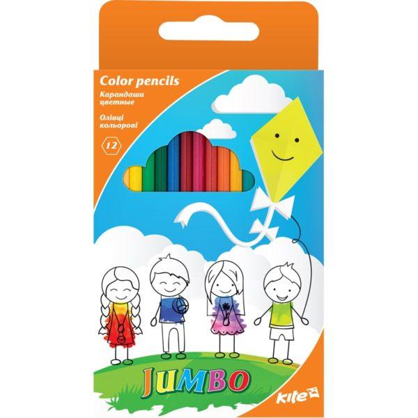 Карандаши цветные трехгранные Jumbo 12 цветов, K17-048