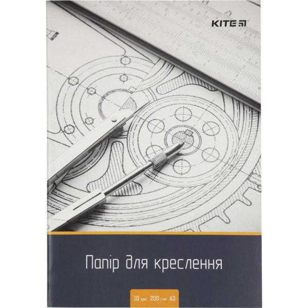 Бумага для черчения А3, 10 листов, 200г/м2, Kite K18-270