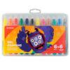 Мелки гелевые 12 цветов (6+6 с глиттером), в пластиковом пенале Jolliers K19-095-12