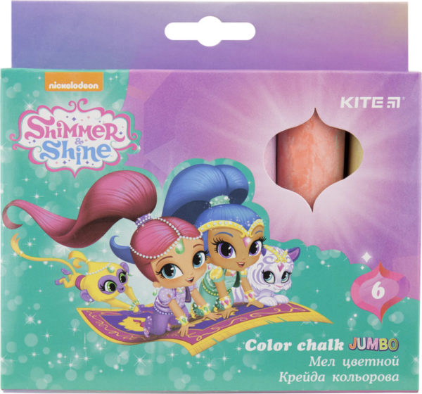 Мел цветной цилиндрический JUMBO 6 цветов, 6шт. Shimmer & Shine SH18-073