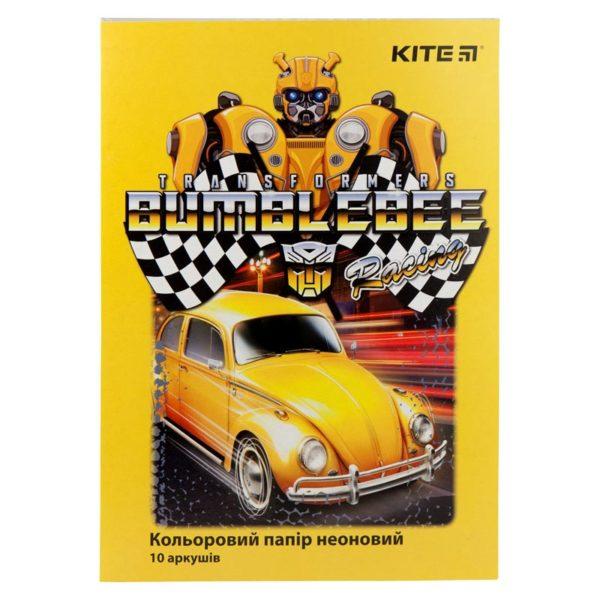Бумага цветная неоновая Kite Transformers 10листов, 5цветов, А4, 80г/м2 TF19-252