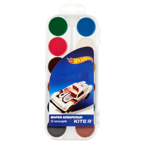 Акварельные краски 12 цветов, без кисти Hot Wheels HW19-061, пласт. упаковка