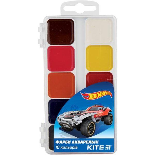 Акварельные краски 10 цветов, без кисти Hot Wheels HW19-060, пласт. упаковка