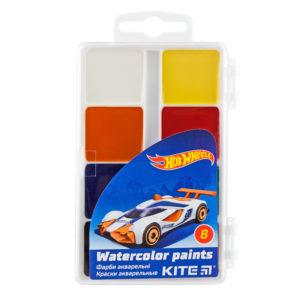 Акварельные медовые краски 8 цветов, б/кисточки Hot Wheels HW19-065, пласт. упак.