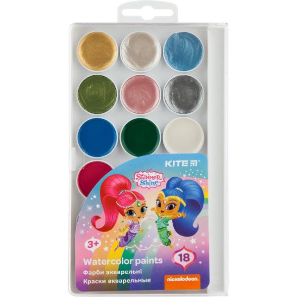 Акварельные краски 18 цветов (12 классических и 6 перламутровых), без кисти Shimmer&Shine SH20-042, пласт. упаковка