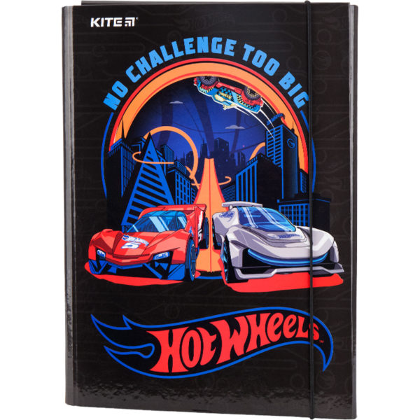 Папка для труда А4, на резинке, Kite Hot Wheels ламинированный картон, HW19-213