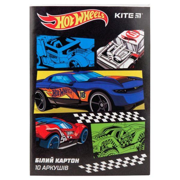 Картон белый односторонний Kite Hot Wheels, А4, 10 листов, 210г/м2, HW19-254